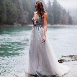 Dresses & Skirts - Long Prom Crystal Formal Dress Grey Homecoming